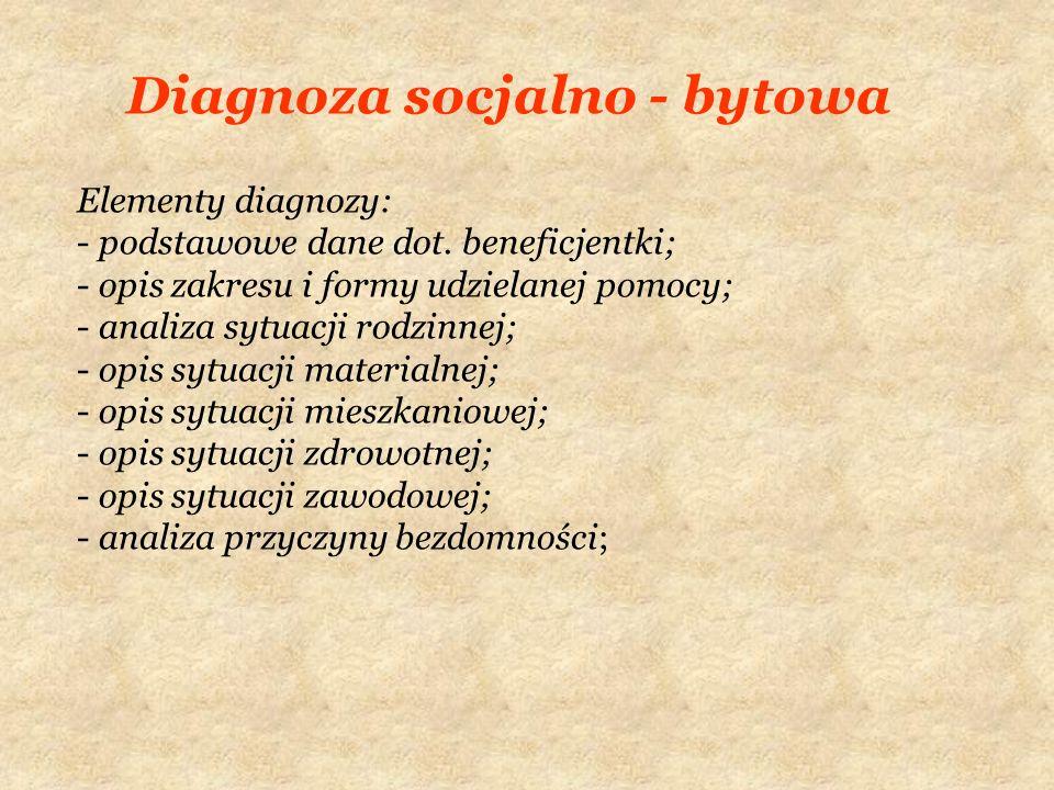 Diagnoza socjalno - bytowa