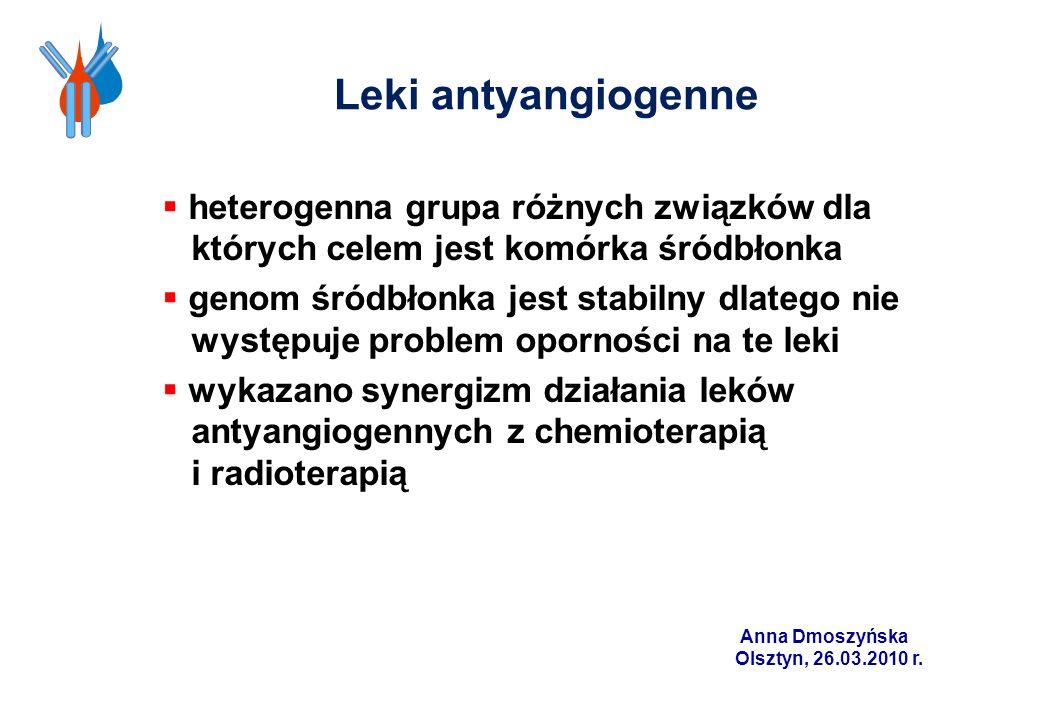 Leki antyangiogenne heterogenna grupa różnych związków dla których celem jest komórka śródbłonka.