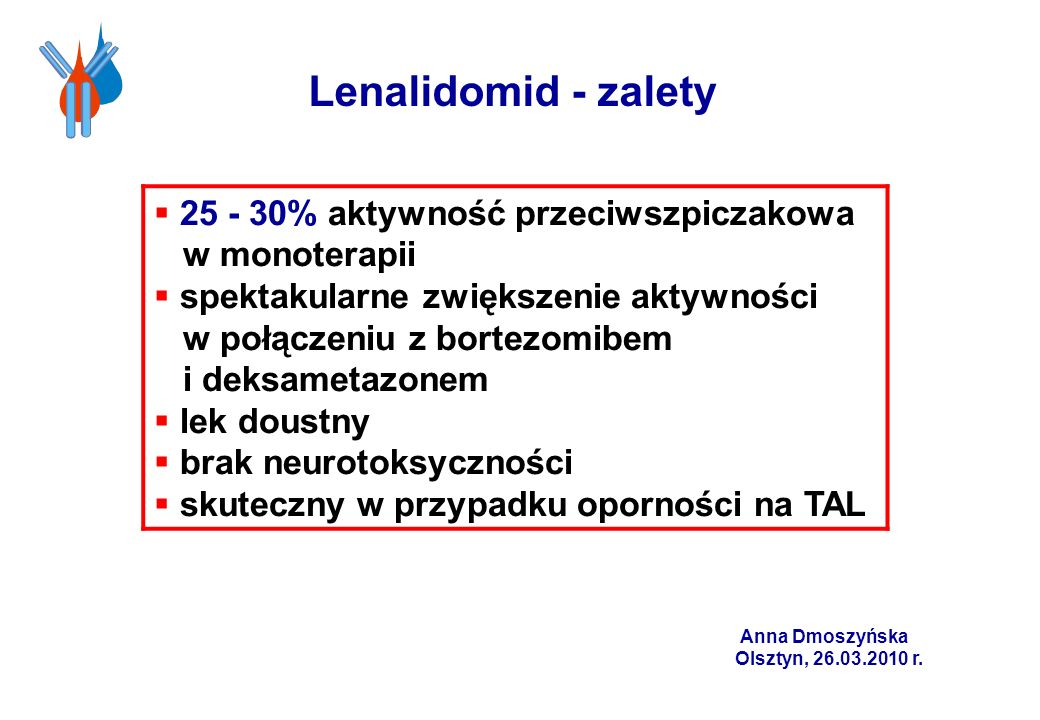 Lenalidomid - zalety25 - 30% aktywność przeciwszpiczakowa w monoterapii.