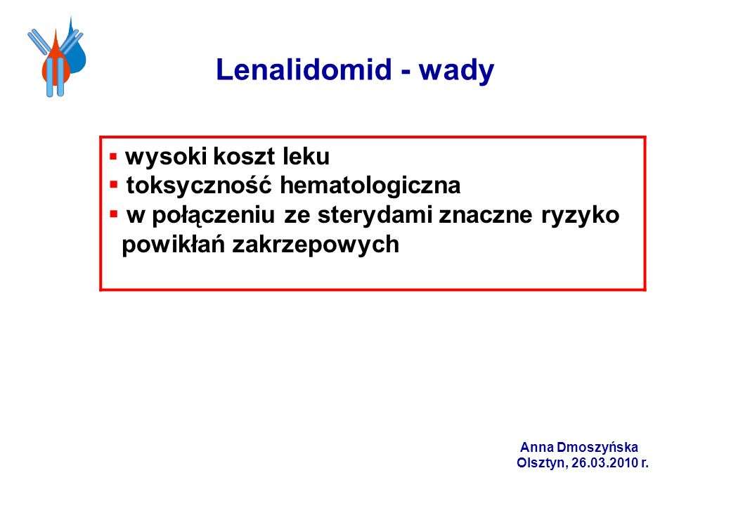 Lenalidomid - wady toksyczność hematologiczna