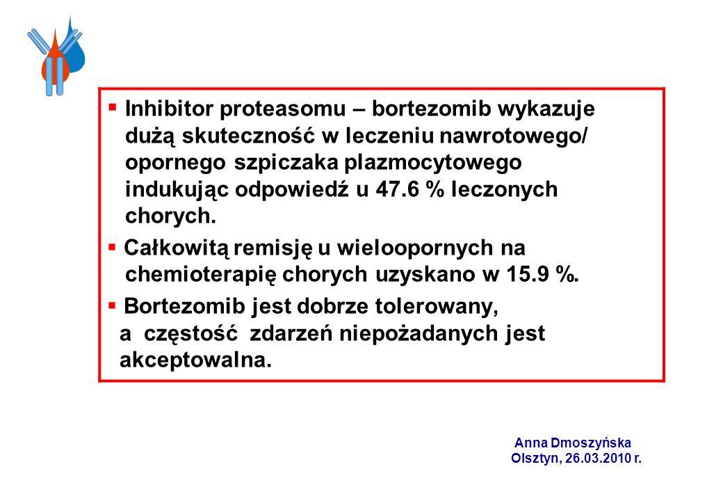 Inhibitor proteasomu – bortezomib wykazuje dużą skuteczność w leczeniu nawrotowego/ opornego szpiczaka plazmocytowego indukując odpowiedź u 47.6 % leczonych chorych.
