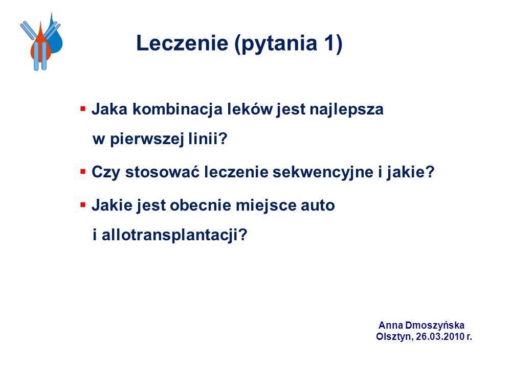 Leczenie (pytania 1) Jaka kombinacja leków jest najlepsza w pierwszej linii Czy stosować leczenie sekwencyjne i jakie
