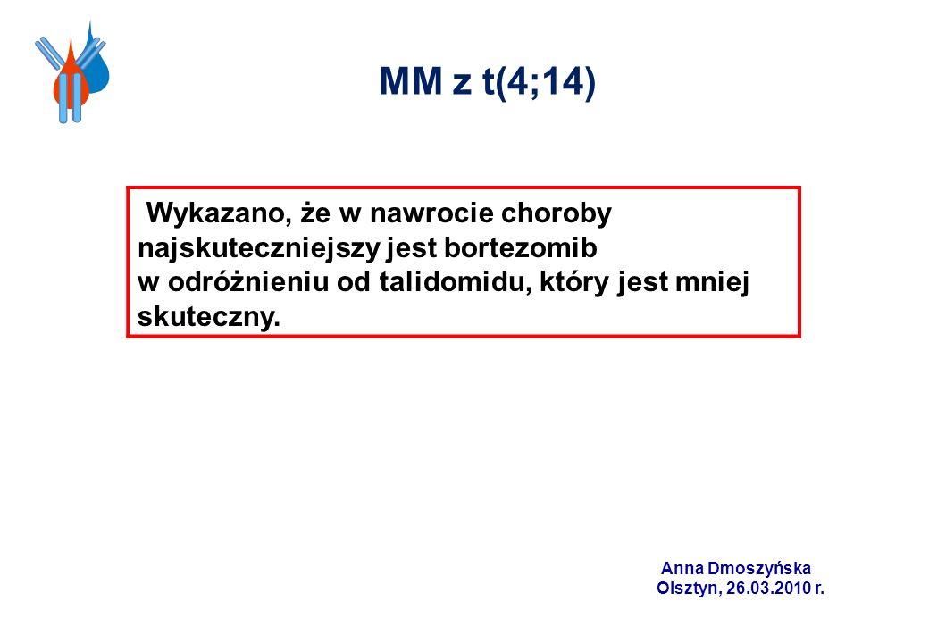 MM z t(4;14)Wykazano, że w nawrocie choroby najskuteczniejszy jest bortezomib. w odróżnieniu od talidomidu, który jest mniej skuteczny.