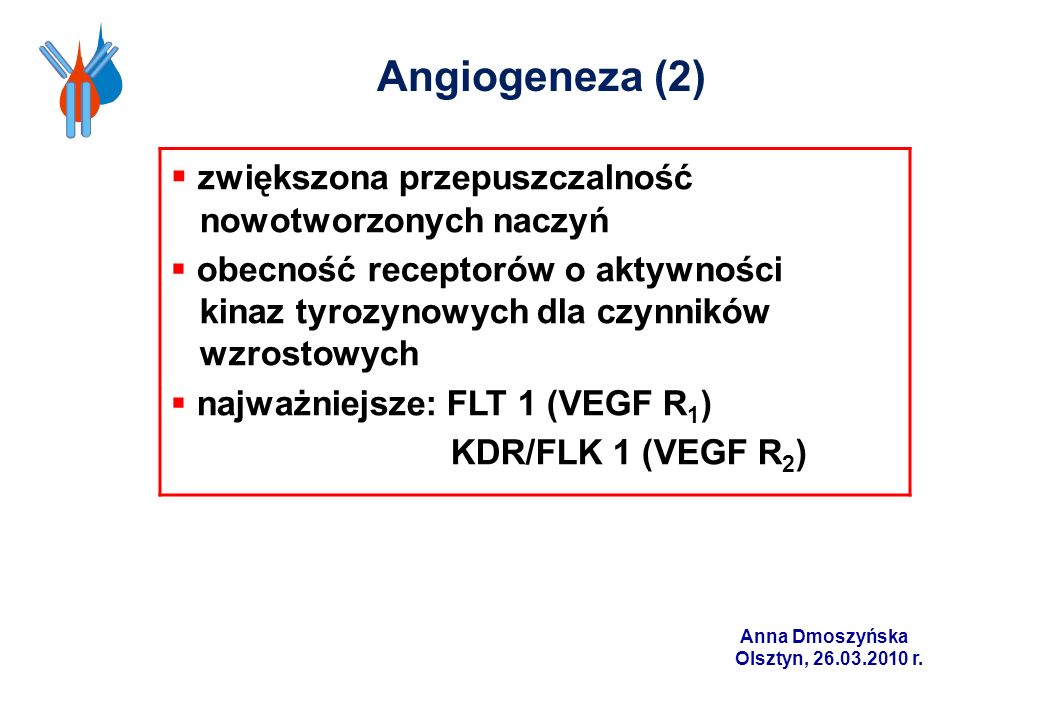 Angiogeneza (2) zwiększona przepuszczalność nowotworzonych naczyń