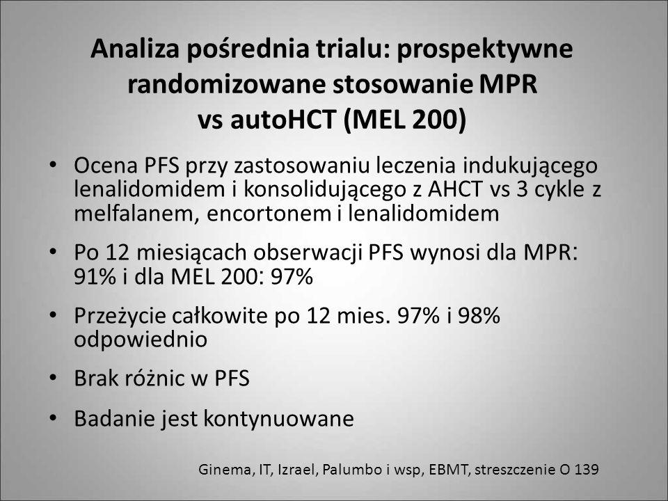 Analiza pośrednia trialu: prospektywne randomizowane stosowanie MPR vs autoHCT (MEL 200)