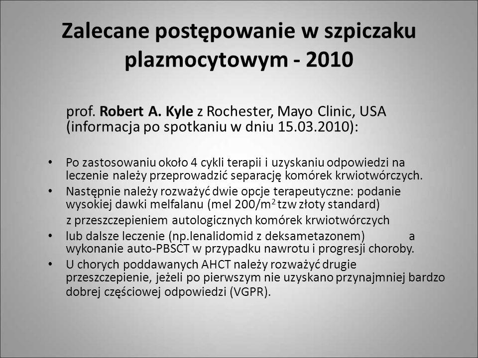 Zalecane postępowanie w szpiczaku plazmocytowym - 2010