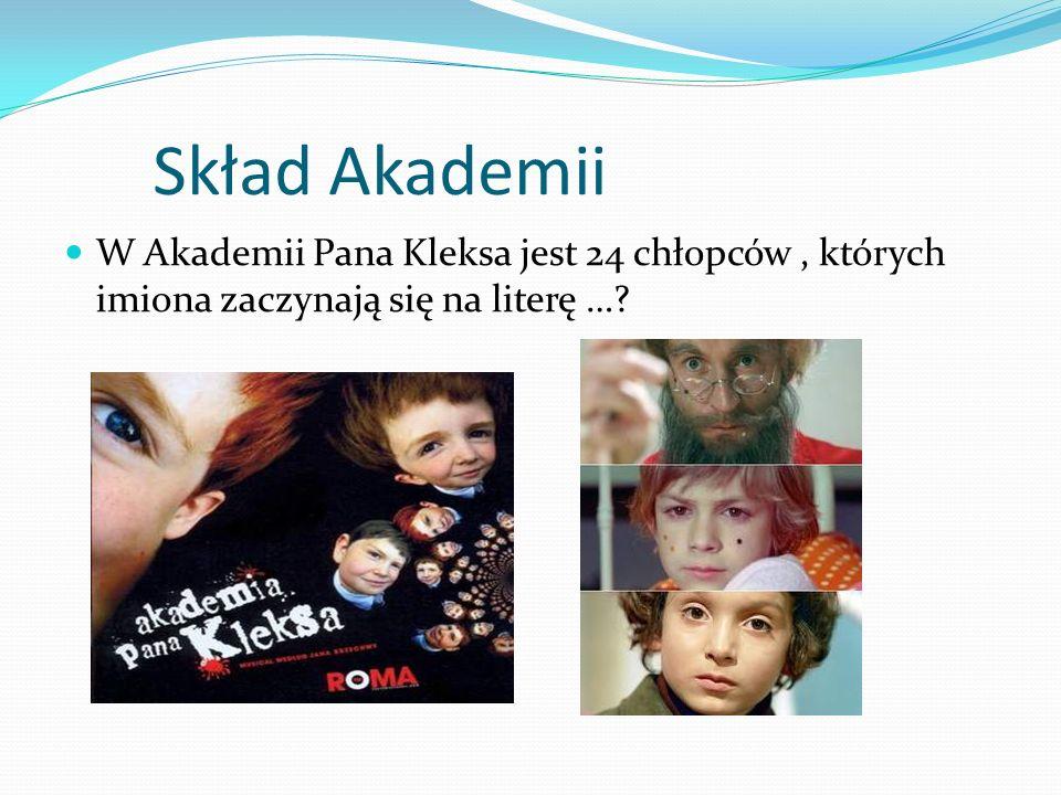 Skład Akademii W Akademii Pana Kleksa jest 24 chłopców , których imiona zaczynają się na literę …