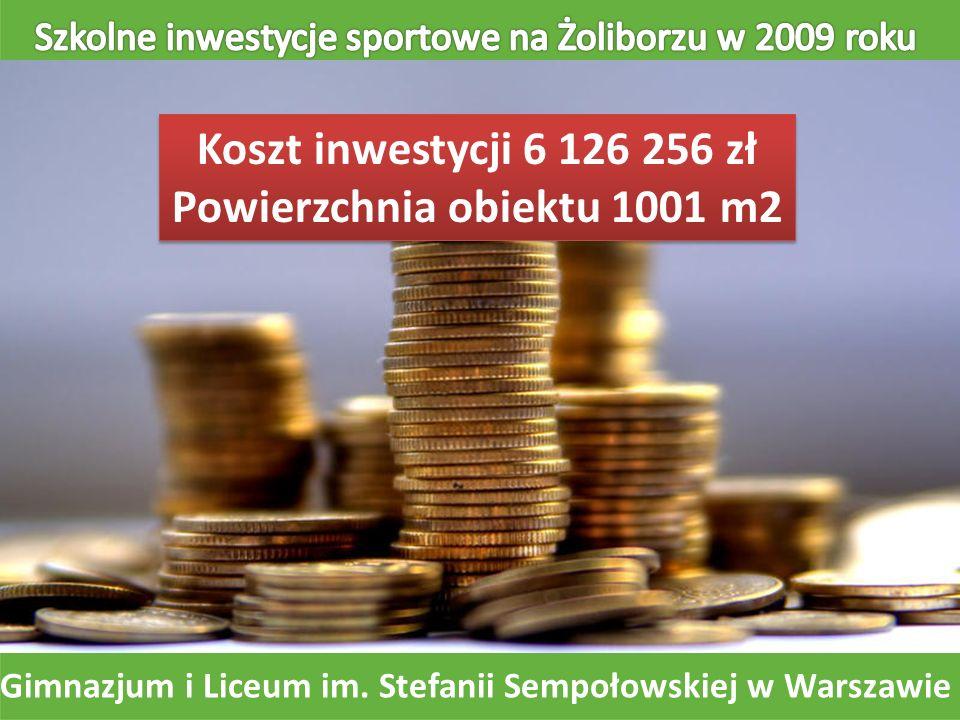 Koszt inwestycji 6 126 256 zł Powierzchnia obiektu 1001 m2