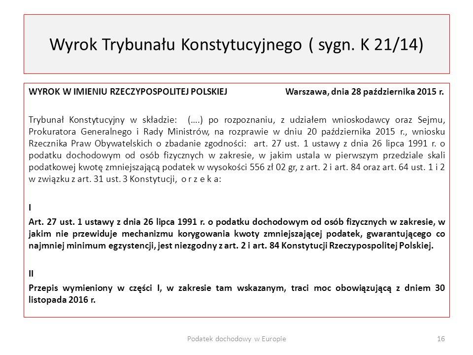 Wyrok Trybunału Konstytucyjnego ( sygn. K 21/14)