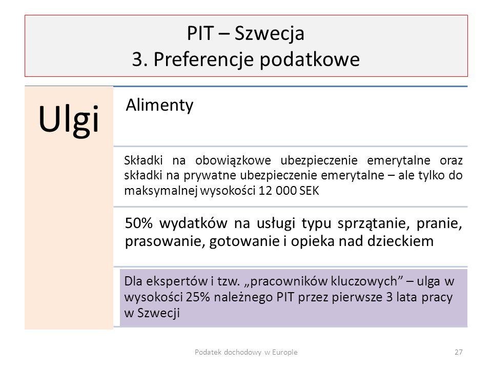 PIT – Szwecja 3. Preferencje podatkowe