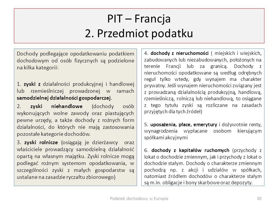 PIT – Francja 2. Przedmiot podatku