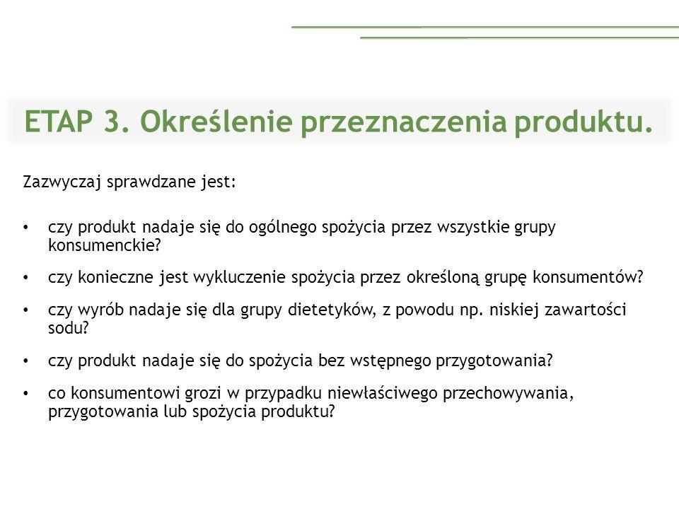 ETAP 3. Określenie przeznaczenia produktu.
