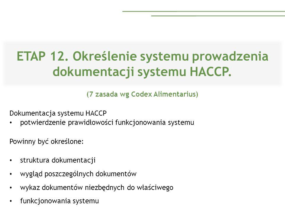 ETAP 12. Określenie systemu prowadzenia dokumentacji systemu HACCP.