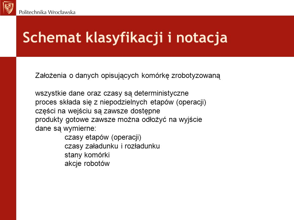 Schemat klasyfikacji i notacja