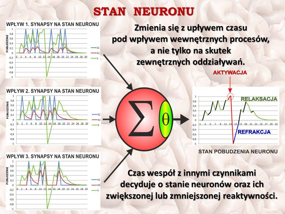 STAN NEURONU Zmienia się z upływem czasu pod wpływem wewnętrznych procesów, a nie tylko na skutek zewnętrznych oddziaływań.