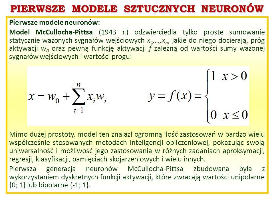 PIERWSZE MODELE SZTUCZNYCH NEURONÓW