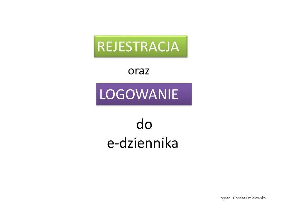 REJESTRACJA oraz LOGOWANIE do e-dziennika oprac. Donata Ćmielewska