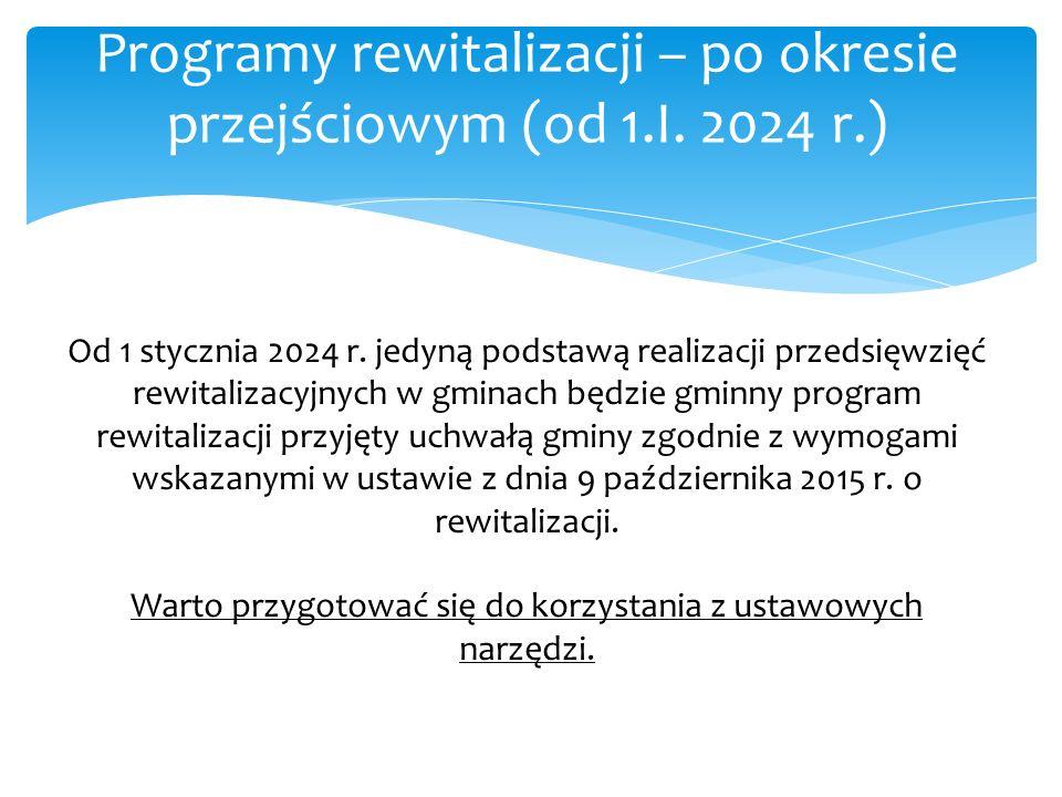 Programy rewitalizacji – po okresie przejściowym (od 1.I. 2024 r.)