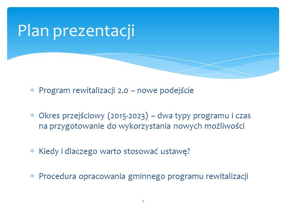Plan prezentacji Program rewitalizacji 2.0 – nowe podejście