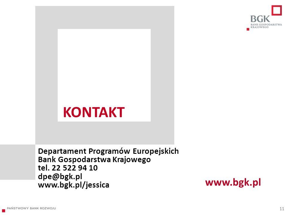 Kontakt Departament Programów Europejskich Bank Gospodarstwa Krajowego tel. 22 522 94 10 dpe@bgk.pl www.bgk.pl/jessica.