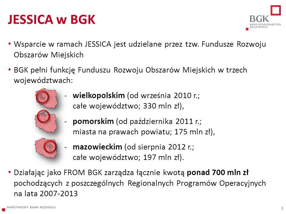 JESSICA w BGK Wsparcie w ramach JESSICA jest udzielane przez tzw. Fundusze Rozwoju Obszarów Miejskich.