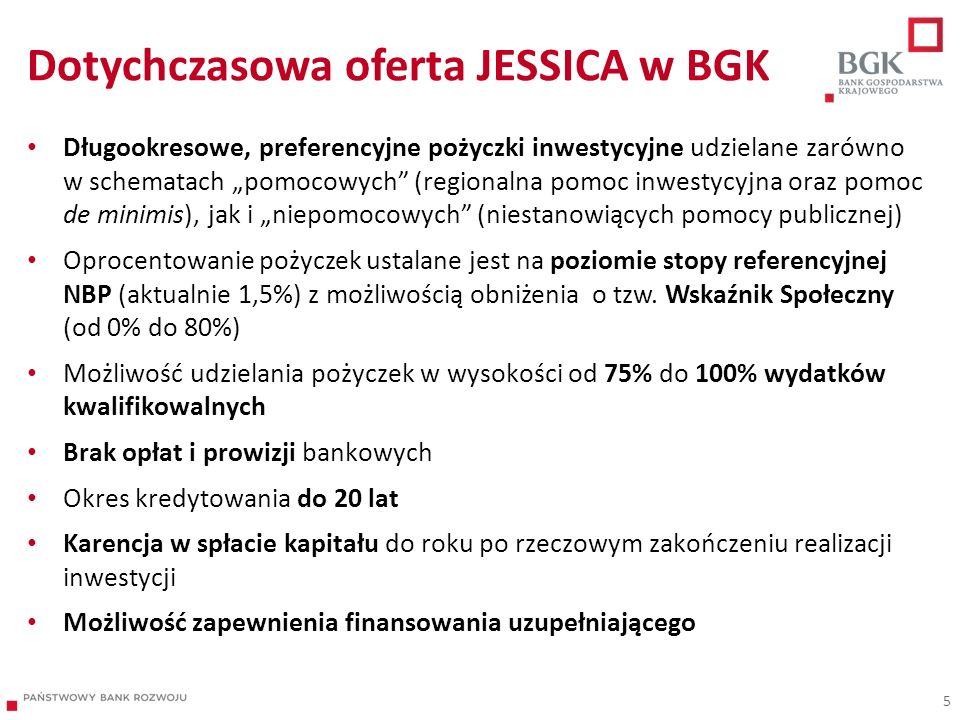 Dotychczasowa oferta JESSICA w BGK