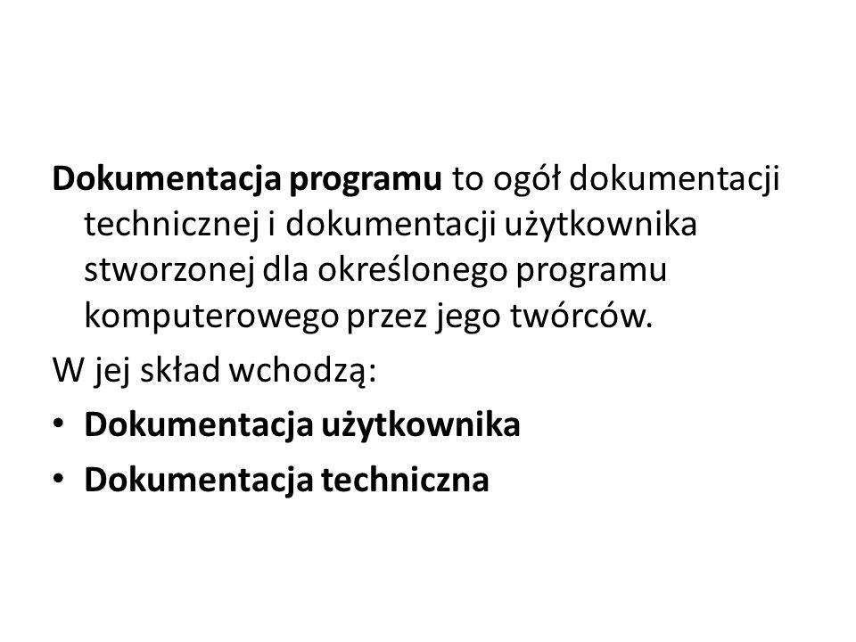 Dokumentacja programu to ogół dokumentacji technicznej i dokumentacji użytkownika stworzonej dla określonego programu komputerowego przez jego twórców.