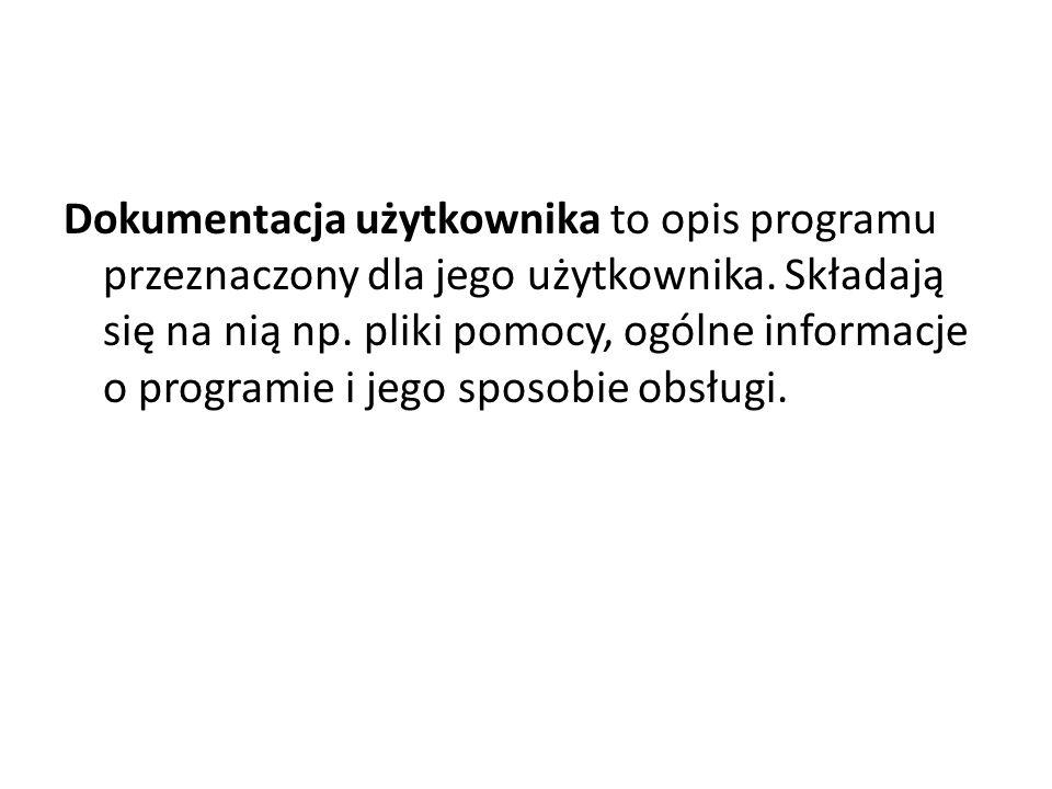 Dokumentacja użytkownika to opis programu przeznaczony dla jego użytkownika.