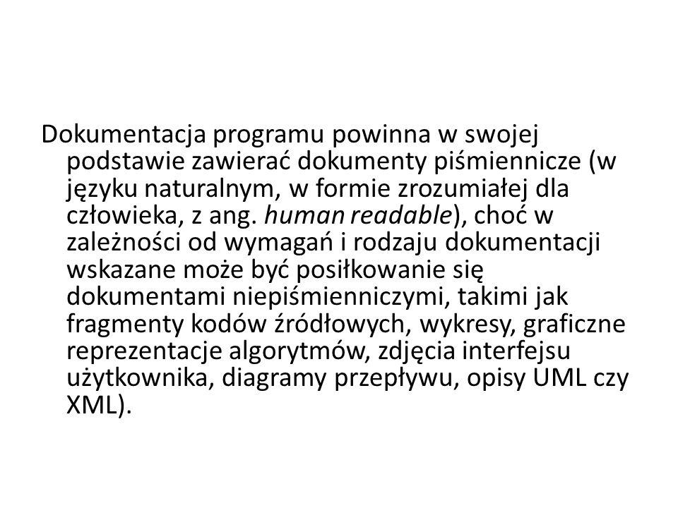 Dokumentacja programu powinna w swojej podstawie zawierać dokumenty piśmiennicze (w języku naturalnym, w formie zrozumiałej dla człowieka, z ang.