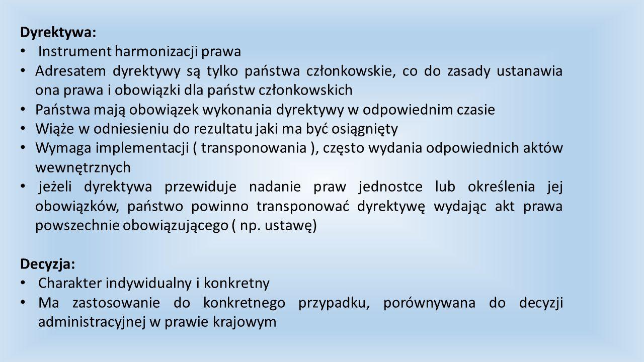 Dyrektywa: Instrument harmonizacji prawa.