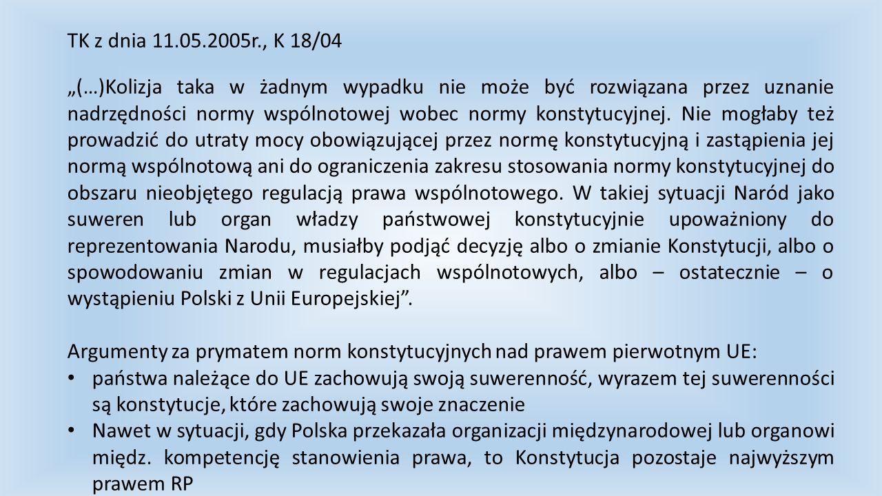 TK z dnia 11.05.2005r., K 18/04