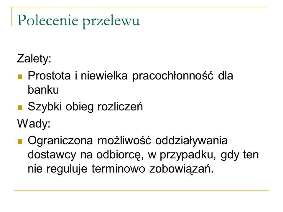 Polecenie przelewu Zalety: