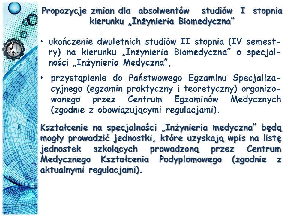 """Propozycje zmian dla absolwentów studiów I stopnia kierunku """"Inżynieria Biomedyczna"""