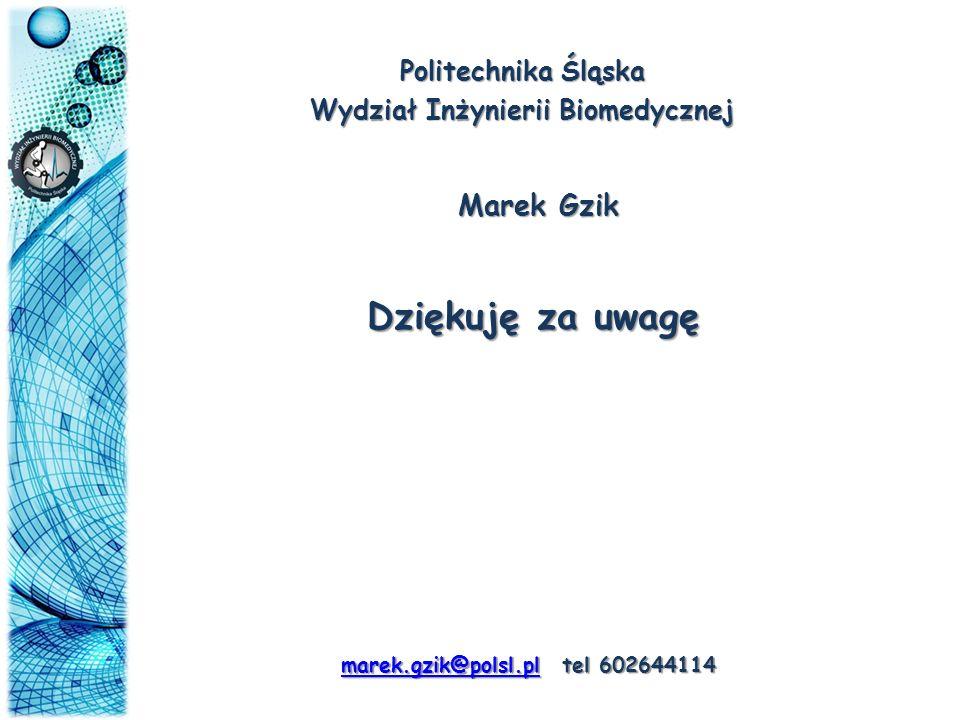 Wydział Inżynierii Biomedycznej marek.gzik@polsl.pl tel 602644114