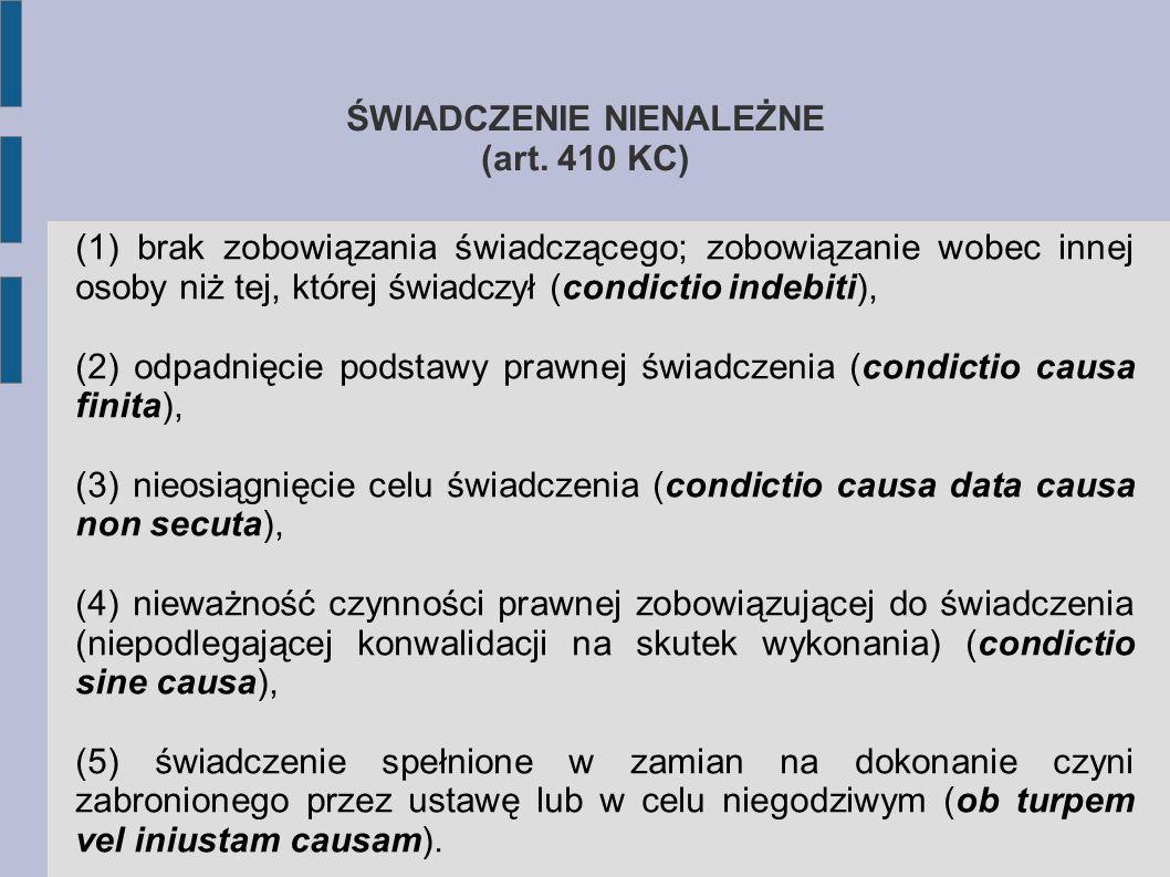 ŚWIADCZENIE NIENALEŻNE (art. 410 KC)