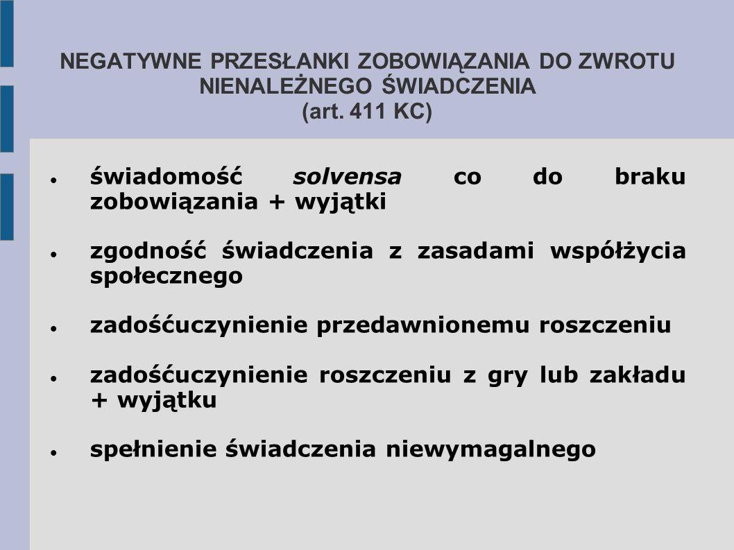 NEGATYWNE PRZESŁANKI ZOBOWIĄZANIA DO ZWROTU NIENALEŻNEGO ŚWIADCZENIA (art. 411 KC)