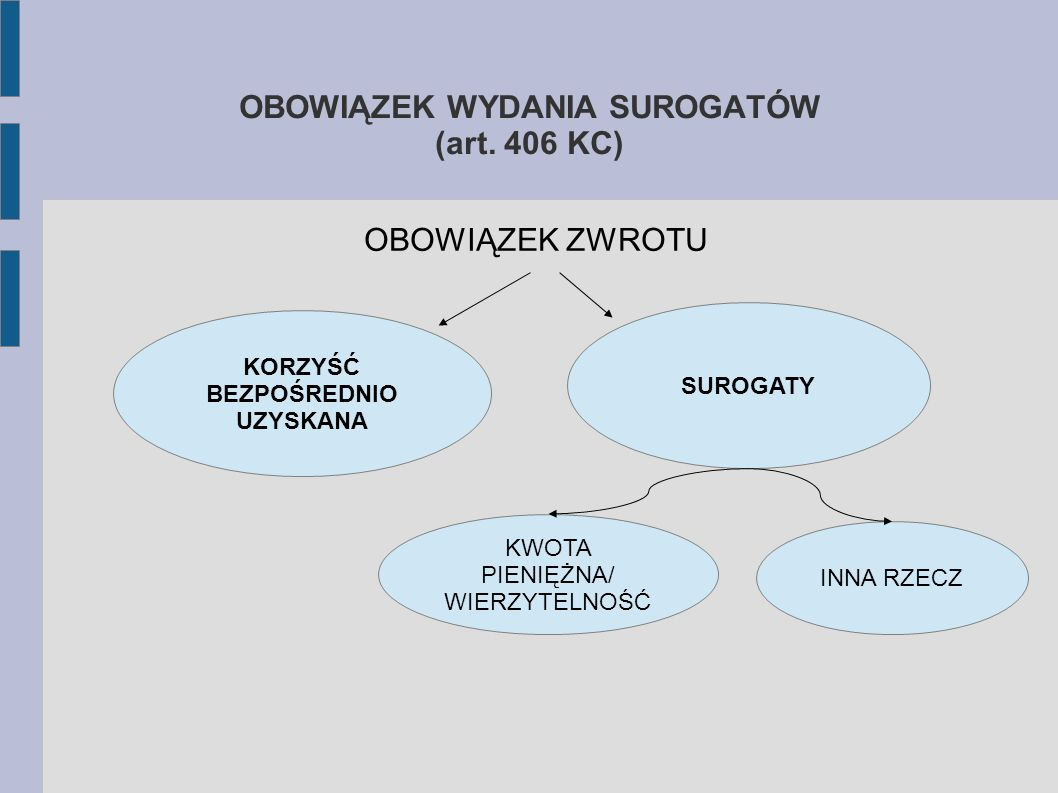 OBOWIĄZEK WYDANIA SUROGATÓW (art. 406 KC)