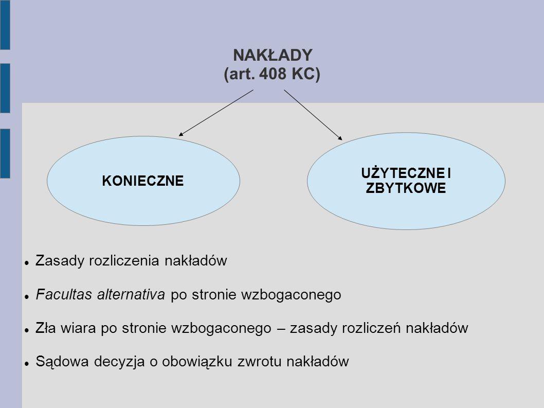 NAKŁADY (art. 408 KC) Zasady rozliczenia nakładów
