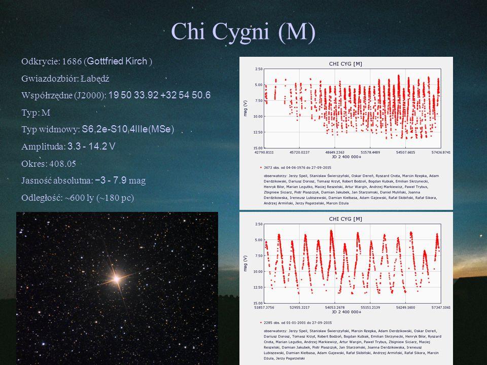 Chi Cygni (M) Odkrycie: 1686 (Gottfried Kirch ) Gwiazdozbiór: Łabędź