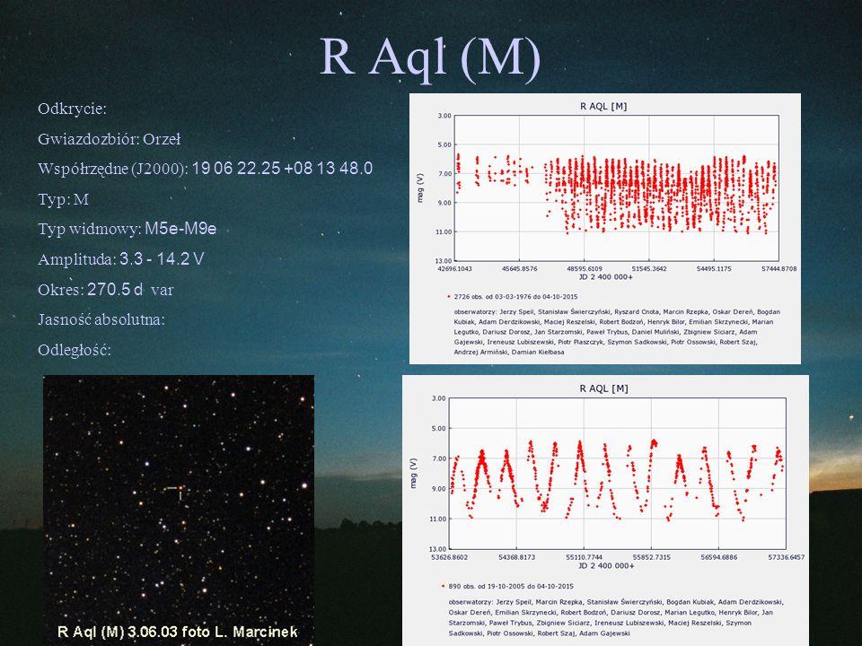 R Aql (M) Odkrycie: Gwiazdozbiór: Orzeł