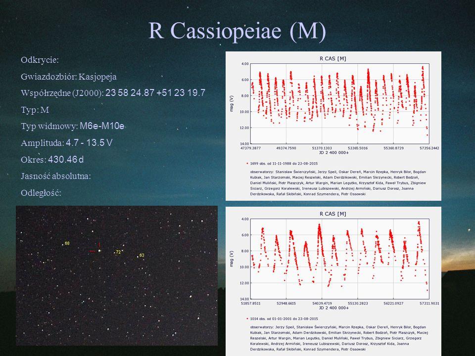 R Cassiopeiae (M) Odkrycie: Gwiazdozbiór: Kasjopeja