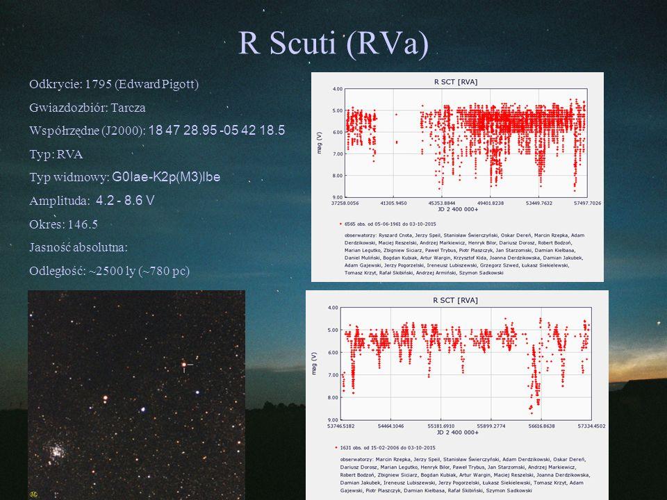 R Scuti (RVa) Odkrycie: 1795 (Edward Pigott) Gwiazdozbiór: Tarcza