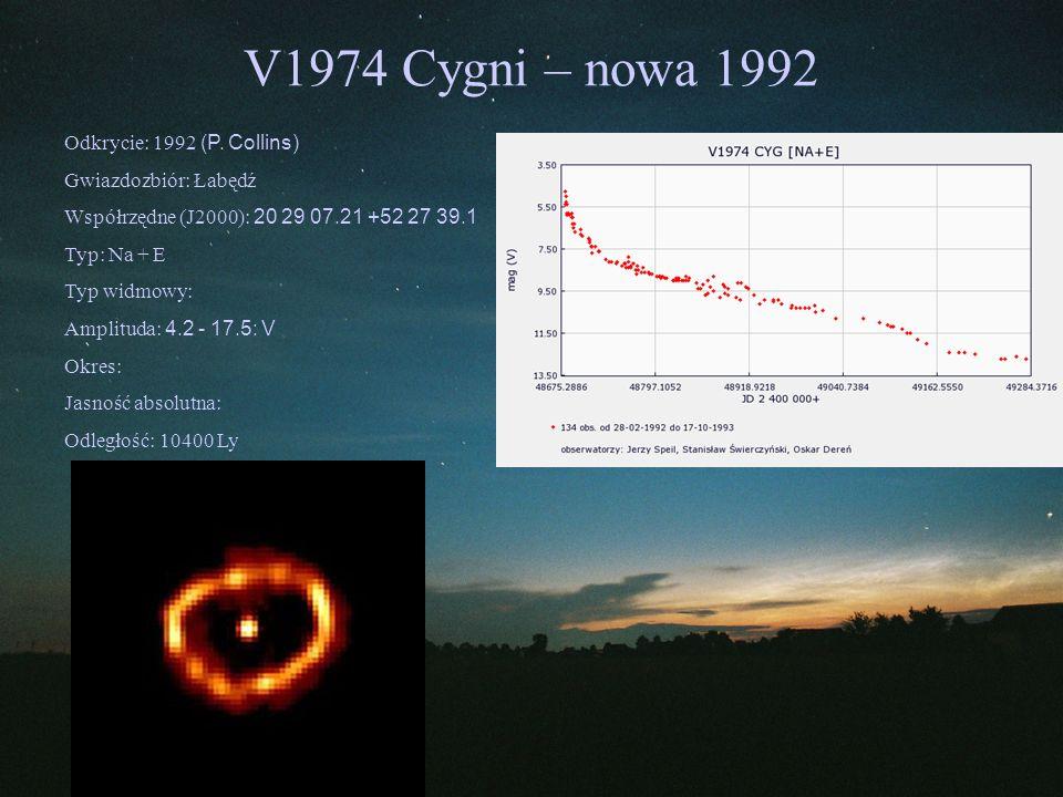 V1974 Cygni – nowa 1992 Odkrycie: 1992 (P. Collins)