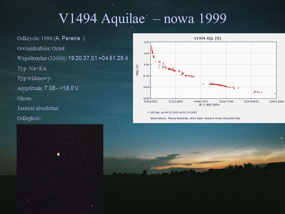 V1494 Aquilae – nowa 1999 Odkrycie: 1999 (A. Pereira )