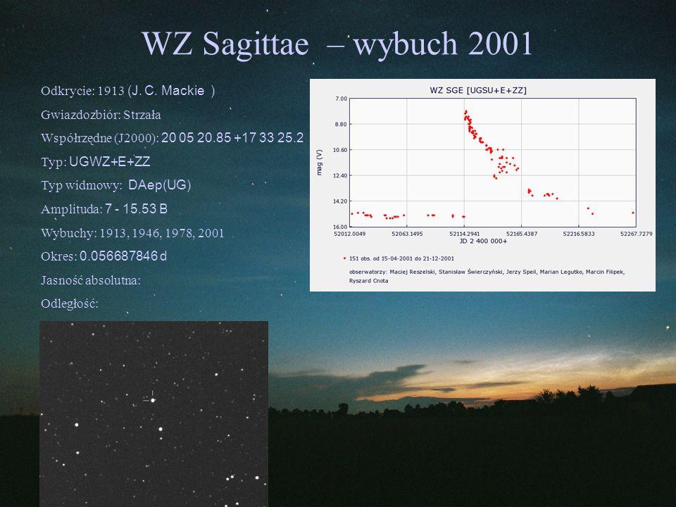 WZ Sagittae – wybuch 2001 Odkrycie: 1913 (J. C. Mackie )