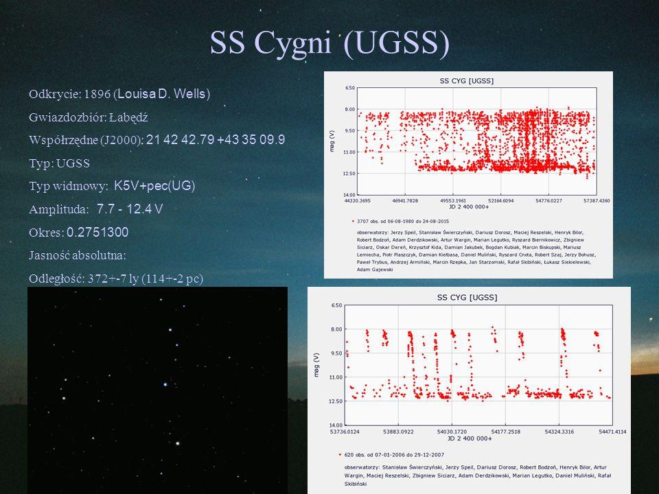 SS Cygni (UGSS) Odkrycie: 1896 (Louisa D. Wells) Gwiazdozbiór: Łabędź