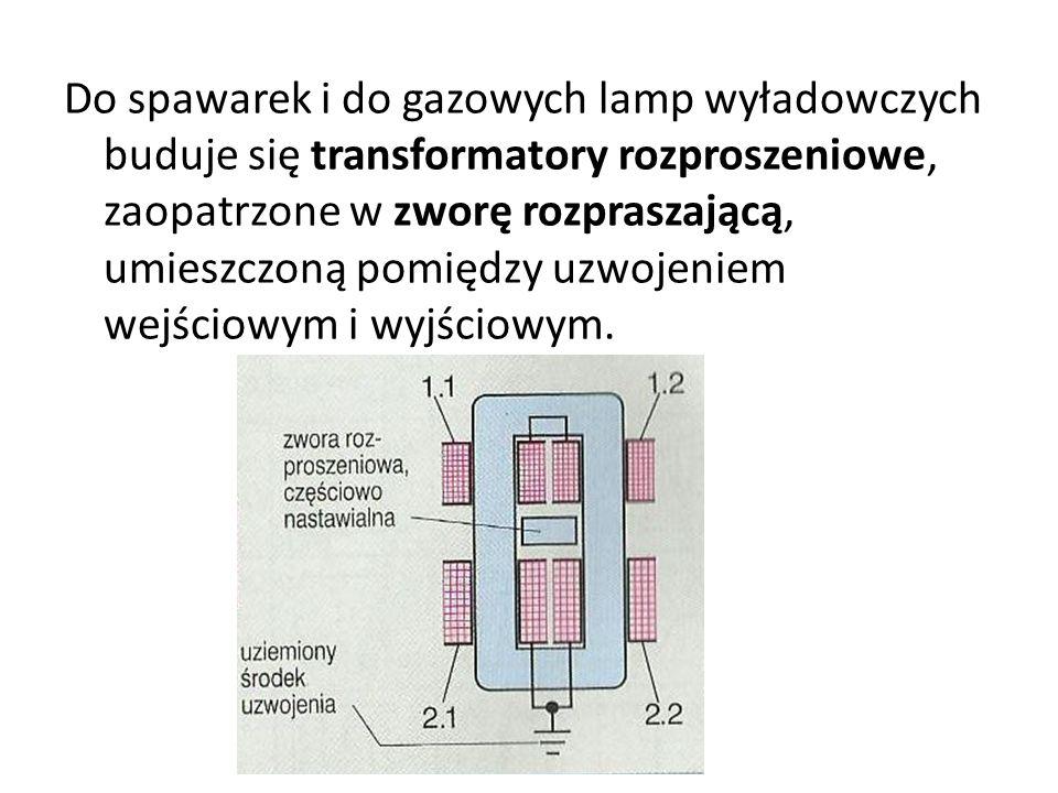 Do spawarek i do gazowych lamp wyładowczych buduje się transformatory rozproszeniowe, zaopatrzone w zworę rozpraszającą, umieszczoną pomiędzy uzwojeniem wejściowym i wyjściowym.