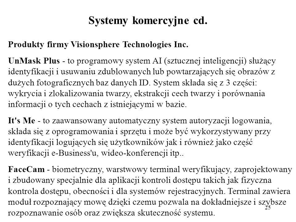 Systemy komercyjne cd. Produkty firmy Visionsphere Technologies Inc.