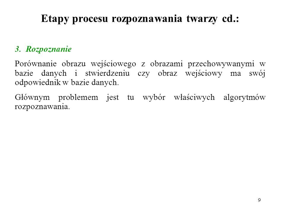 Etapy procesu rozpoznawania twarzy cd.:
