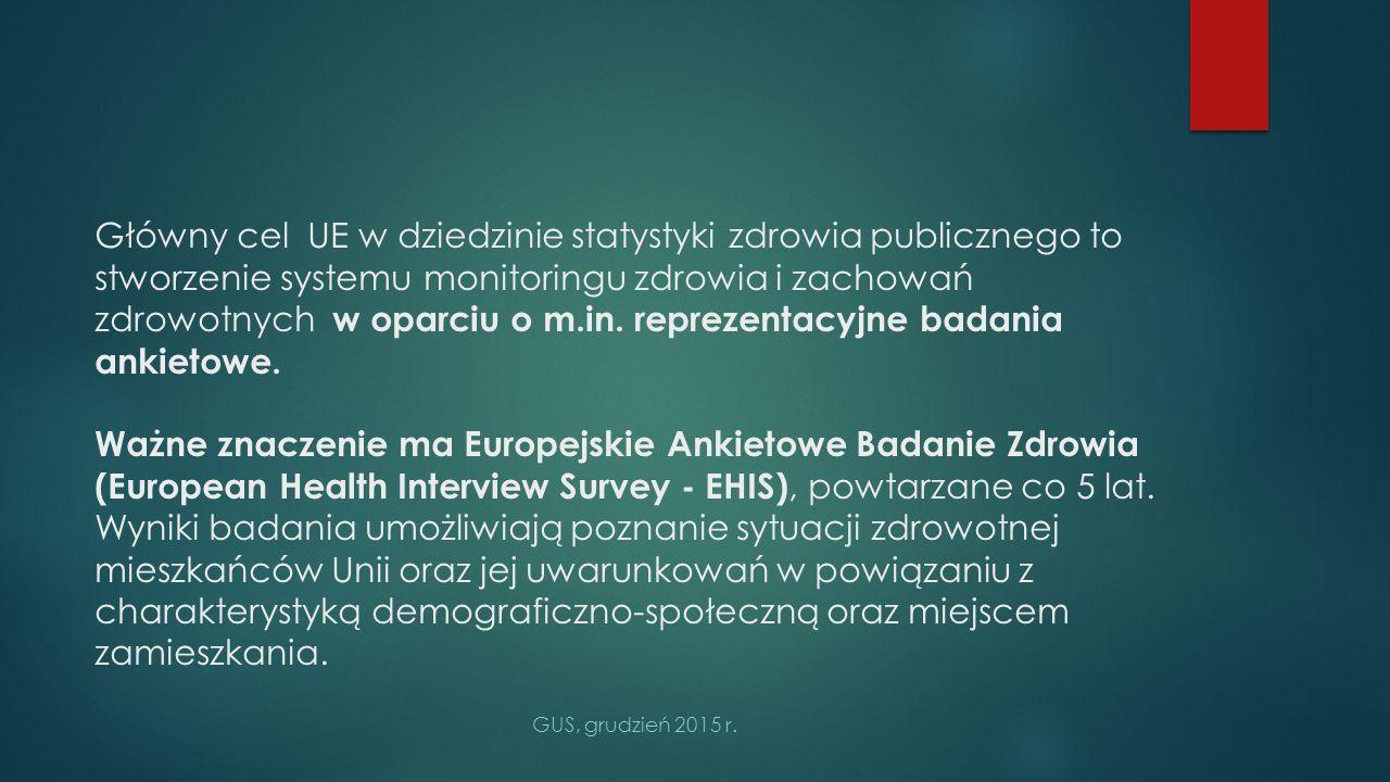 Główny cel UE w dziedzinie statystyki zdrowia publicznego to stworzenie systemu monitoringu zdrowia i zachowań zdrowotnych w oparciu o m.in. reprezentacyjne badania ankietowe. Ważne znaczenie ma Europejskie Ankietowe Badanie Zdrowia (European Health Interview Survey - EHIS), powtarzane co 5 lat. Wyniki badania umożliwiają poznanie sytuacji zdrowotnej mieszkańców Unii oraz jej uwarunkowań w powiązaniu z charakterystyką demograficzno-społeczną oraz miejscem zamieszkania.